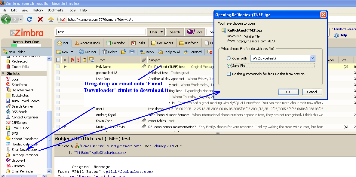 Zimbra org: Email Downloader