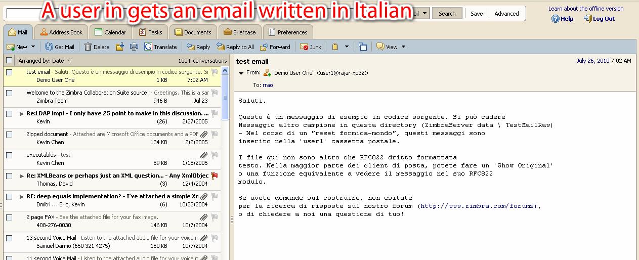 Zimbra org: Google Translator