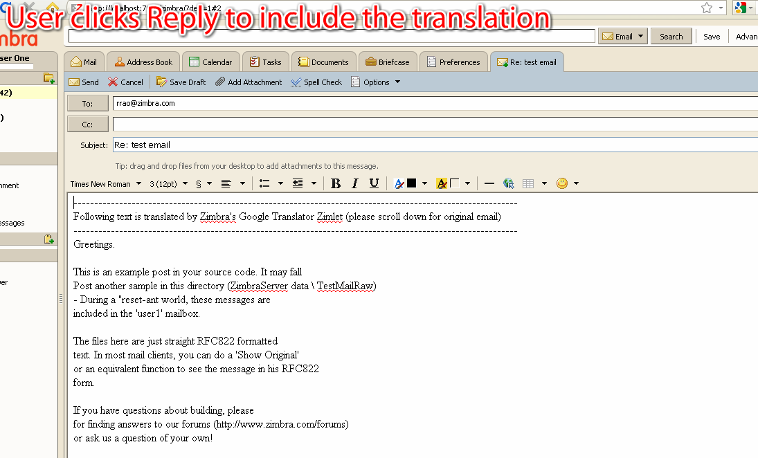 Zimbra org: Google Translator