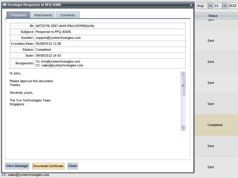 Zimbra org: YunTech eSignature Gateway